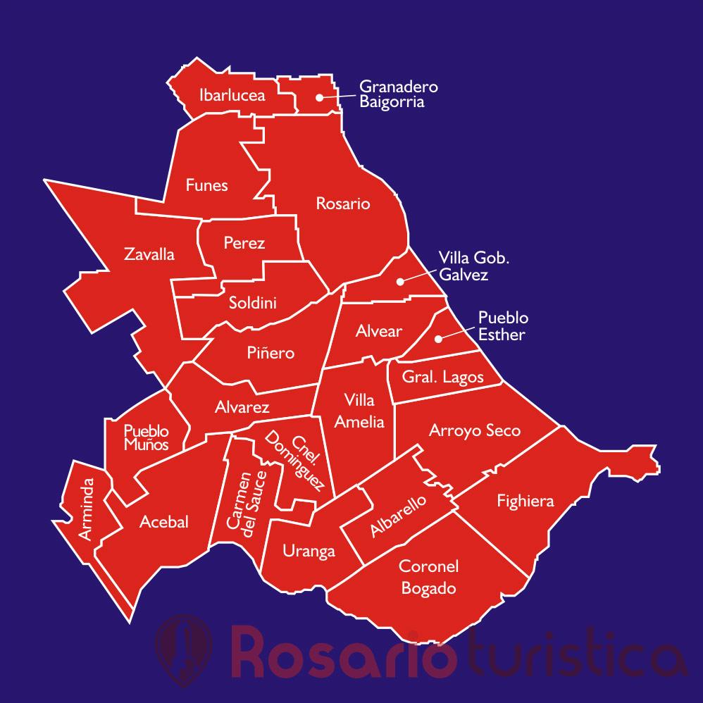 Mapa Por Departamentos De Rosario Turismo Santa Fe
